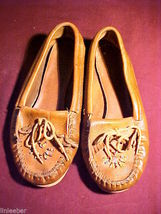 LEATHER MOCCASINS;BEADED;KILTIE TONGUE;SIZE 7M;ORTHO-TREAD SOLES;#612;#9... - $19.99