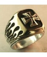 Old school Chopper Flame M/C ring Sterling Silver - $79.00