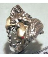 Mermaid Dolphin ring Sterling Silver Ruby Lge. - $58.00