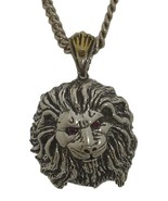 African Lion Mens Pendant 10 k Gold Crown sterling silver 925 Ruby - $149.00