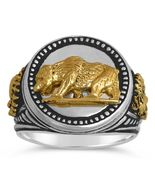 10 Karat Gold California Golden Bear Shoshone Chiefs silver Coin ring - $296.01