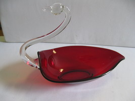 Duncan Miller Glass Swan Dish with Crystal Neck and Head Pall Mall Ruby ... - $89.99