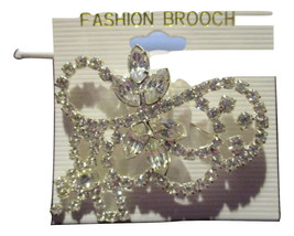 New Women's Fashion BROOCH/PIN Clear Crystals Silvertone - $20.00