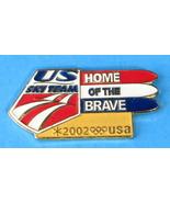 Lapel Pin Pin Salt Lake 2002 Olympic US Ski Team Home Of Brave Enamel Skiis - $20.00
