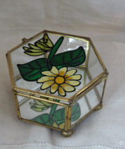 Vintage Brass & Glass Square Jewelry Box // Painted Sunflower Trinket Box - $10.00