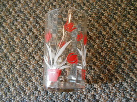 Old Vintage Small Juice Glass or Swanky Swig Kitchen Red White Flowers P... - $9.99