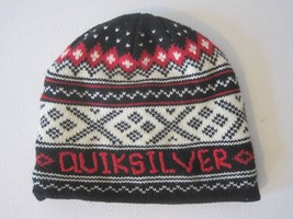 MEN'S GUYS  QUIKSILVER KNIT LOGO BLACK RED  Beanie TOQUE SKI HAT  NEW - $19.99