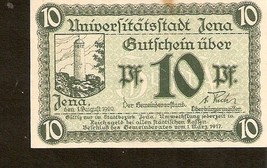 Germany Notgeld der Stadt Jena  10 PFENNIG 1917  No. 295085 - $3.00