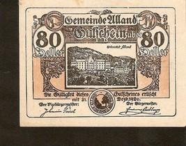 Austria Gutschein der gemeinde ALLAND  80 heller 1920 ocker ocher - $3.00