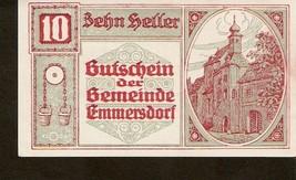notgeld Austria Gutschein der gemeinde EMMERSDORF 10 heller 1920 - $4.00