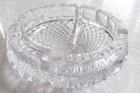 Circa 1970's Vintage Hoya Mikasa Crystal Symmetric Design Heavy Glass Ashtray- J