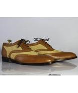 New Men's Handmade Brown & Beige Wingtip Brogue Shoes, Men Leather & Sue... - $144.99+