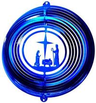 12 in stainless steel blue Nativity Scene USA 3D hanging wind spinner, spinners - $32.00