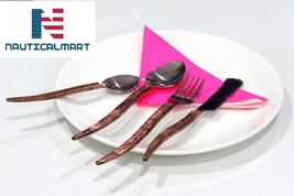 Al-Nurayn Modern Flatware Set With Stainless Steel Copper Cutlery Set Of 8 - $199.00