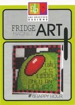 CLEARANCE Happy Hour #12 Fridge Art Magnet cross stitch Amy Bruecken Designs - $6.00