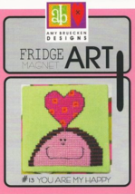 CLEARANCE You Are My Happy #13 Fridge Art Magnet cross stitch Amy Bruecken  - $6.00