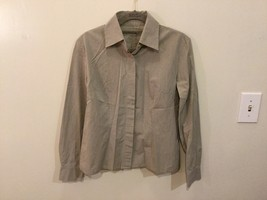 Women's Light Gray Button Up Blouse 100% Cotton long Sleeve, no size tag image 1