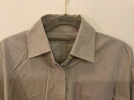 Women's Light Gray Button Up Blouse 100% Cotton long Sleeve, no size tag image 2