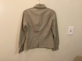 Women's Light Gray Button Up Blouse 100% Cotton long Sleeve, no size tag image 4