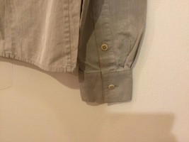 Women's Light Gray Button Up Blouse 100% Cotton long Sleeve, no size tag image 5