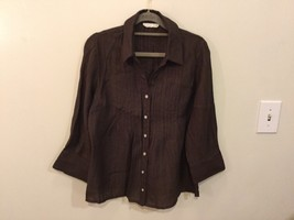 Coldwater Creek Petite Brown 3/4 Sleeve Blouse Buttons Up, size M petite (10-12)