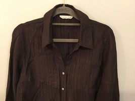 Coldwater Creek Petite Brown 3/4 Sleeve Blouse Buttons Up, size M petite (10-12) image 3
