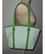 Fossil Satchel Green Leather Trim Purse Handbag Shoulder Bag Tote Shoppe... - $37.97