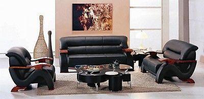 Global Furniture U2033 Black Bonded Leather 3 Piece Sofa Set Contemporary Design