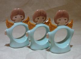 Three Vintage Ceramic Angel Napkin Rings // Christmas Table Decor - $8.00