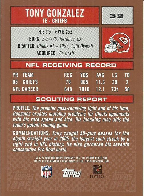 2006 Topps Draft Picks and Prospects #39 Tony Gonzalez