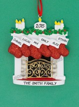 Mantle with Stocking Family 6 Personalized Christmas TreeOrnament Holida... - $12.82