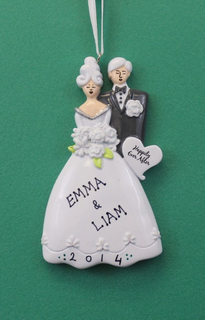 Modern Bride and Groom Wedding Personalized Christmas Tree ...