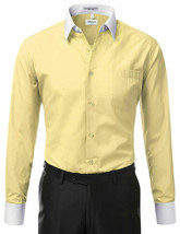 Berlioni Italy Men's Classic White Collar & Cuffs Yellow Dress Shirt w/ Defect image 2