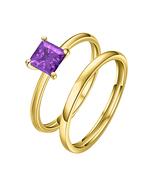 8mm Princess Cut Solitaire Amethyst 14k Yellow Gold Wedding Band Bridal ... - $62.13