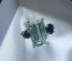 Estate Huge 12.10 ct Natural diamond sapphire Aquamarine 14k White gold ... - $3,199.99