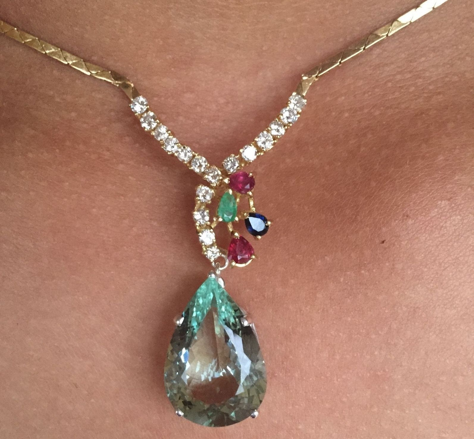 Rare huge 13ct green aquamarine diamond ruby sapphire emerald 18k gold necklace