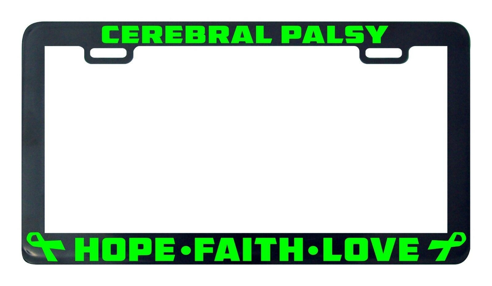 Primary image for Cerebral palsy hope faith love license plate frame holder