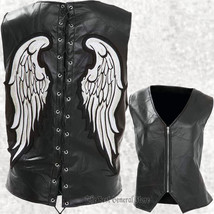 Womens Ladies Black Leather Angel Wing Vest Waistcoat Laced Back Zip Fro... - $32.85