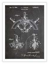 SHIP STEERING WHEEL INVENTION POSTER BLACKBOARD 1944 US PATENT ART RETRO... - $24.95
