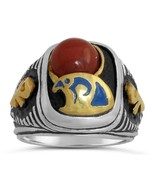 Egyptian 10 karat Gold Falcon Horus Signet Sterling Silver 925 ring  - $360.00