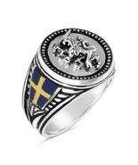 Swedish Lion Mens Coin ring Sterling silver .925  - $98.00