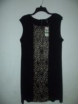 Alfani Dress Laser-Cut Faux-Leather-Panel Sheath Sz L Black $89 - $36.62