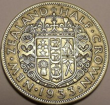 Huge Silver New Zealand 1933 Half Crown~King George V~1st Year Ever~Free... - $29.69