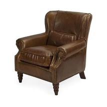 Classic Traditional Lambert Leather Club Brown Chair,32'' x 35.5''H. - $1,435.50