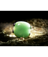 GREEN DRAGON ANTIQUE STERLING MYSTERIOUS AVENTURINE RING izida haunted no Djinn - $212.00