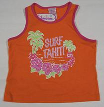 Nwt Girl Connection M 7 8 Tank Top Orange Glittery Surf Tahiti Plam Trees Shirt - $8.41