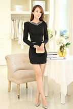 Elegant Women Winter Sweet Beaded V Neck Princess Long Sleeve Mini Dress... - $13.50