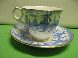 Royal Stafford Bone China Tea Cup and Saucer Blue Windmill with Gold Trim - $42.99