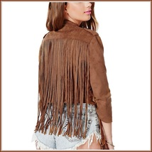 Brown Faux Leather Suede Motorcycle Cross Zip Up Long Flying Fringed Back Jacket image 2