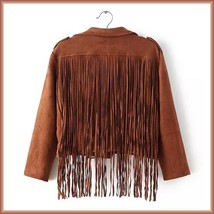 Brown Faux Leather Suede Motorcycle Cross Zip Up Long Flying Fringed Back Jacket image 3